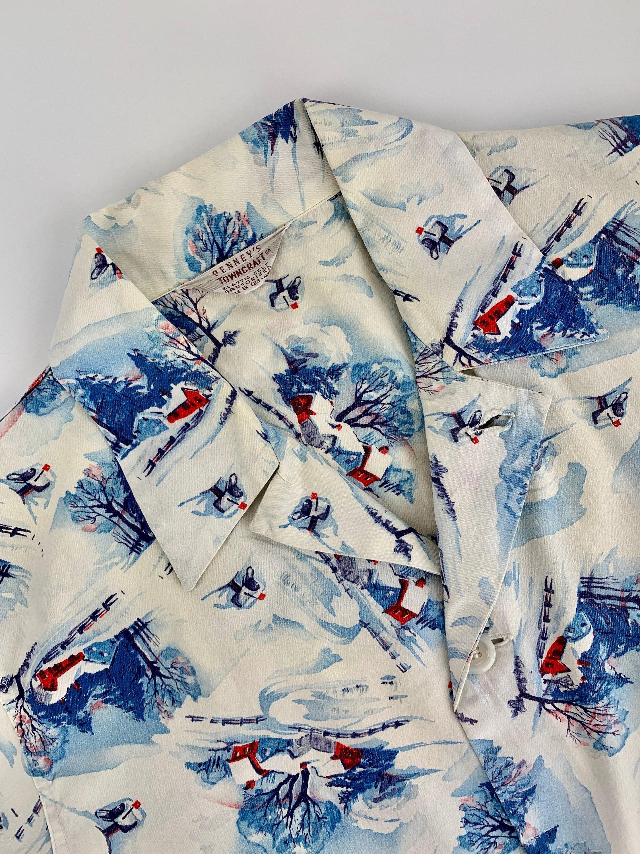 1950s Mens Hats | 50s Vintage Men's Hats 1950s Pajama Shirt - Winter Scene Novelty Print Penneys Towncraft All Cotton Mens Size Medium $22.95 AT vintagedancer.com