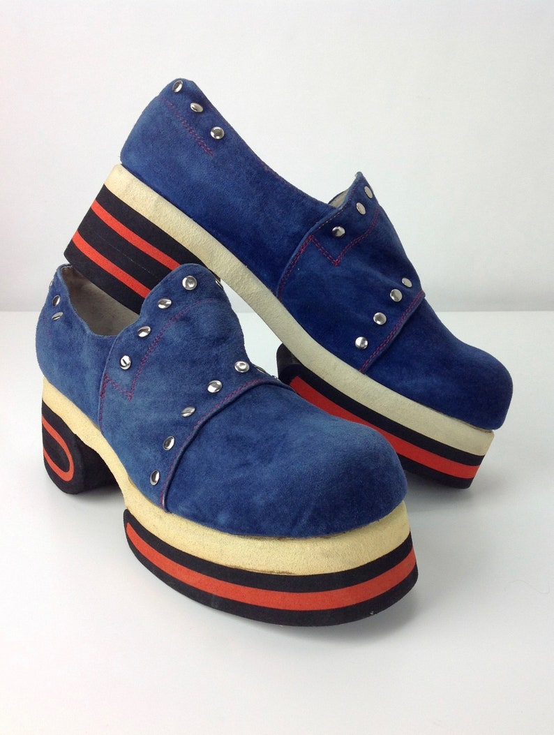 fd5507308a5 1970 S Platform Shoes   Blue Suede with Metal Studs