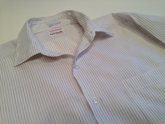 Vintage 1960's Pinstriped Dress Shirt / Crisp Sum… - image 3