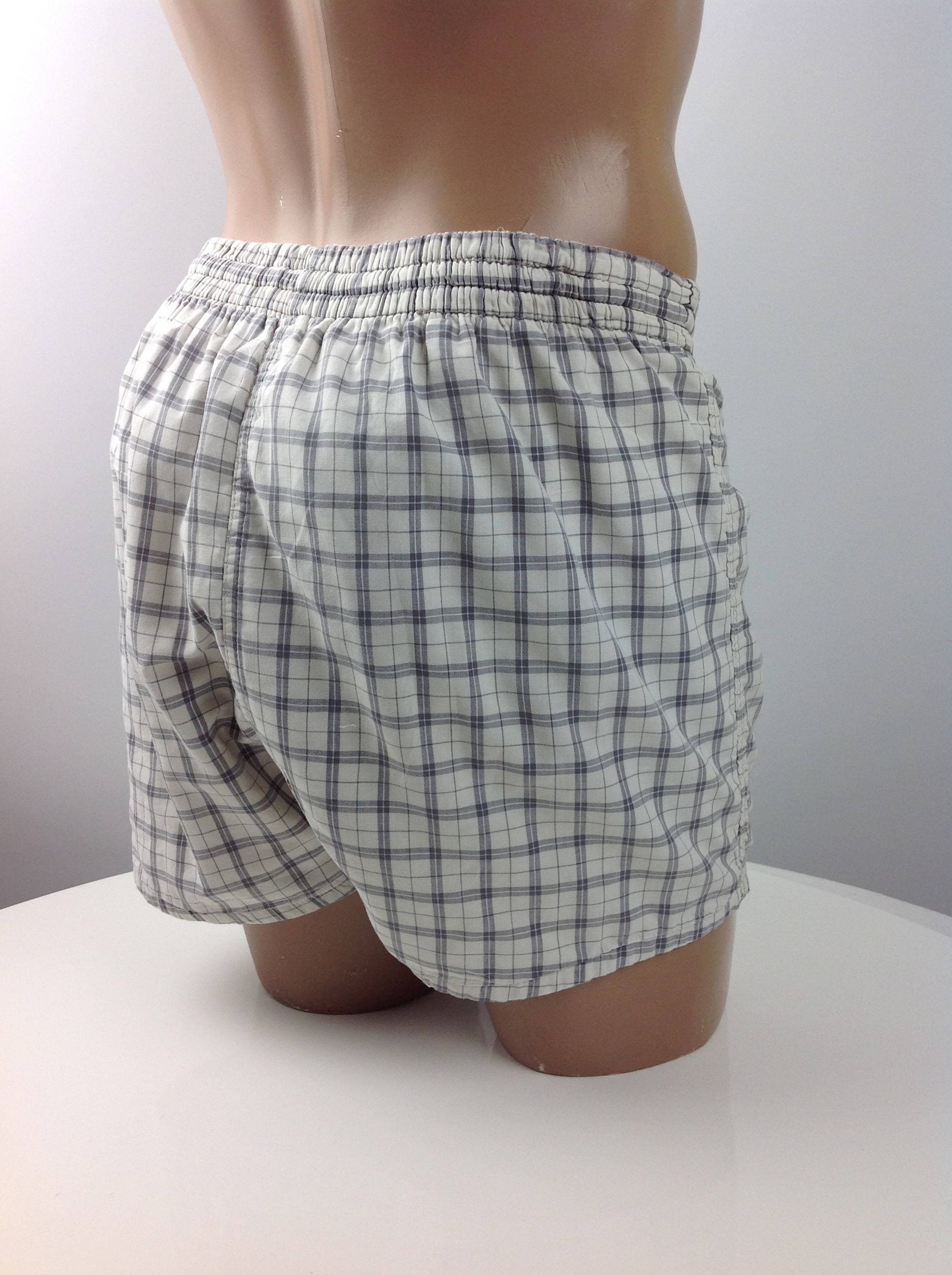 1950s Mens Suits & Sport Coats | 50s Suits & Blazers 1950s Swim Trunks - Gray  White Cotton Plaid Campus Brand Coin Pocket Lining Mens Size Medium $22.95 AT vintagedancer.com