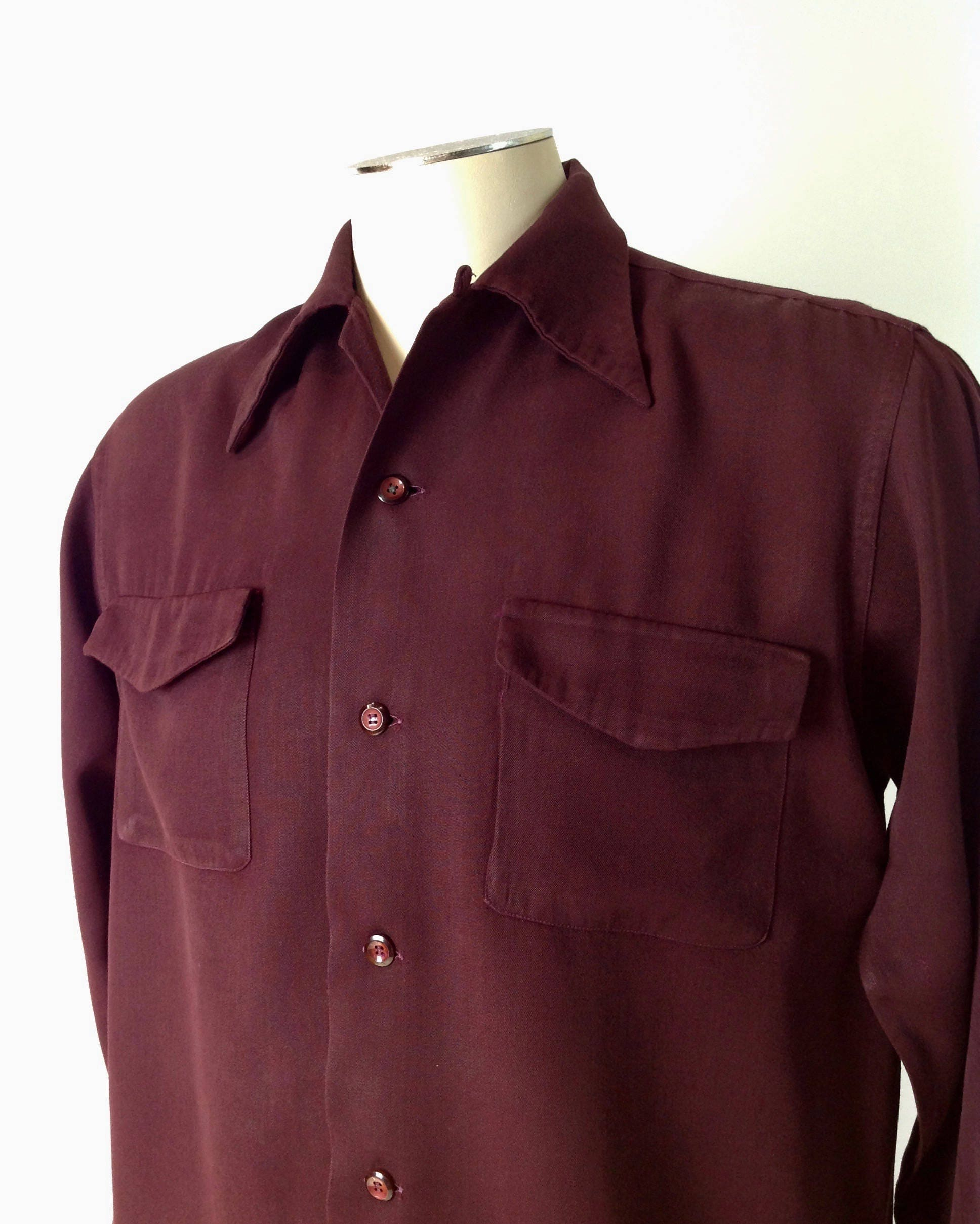 1940s Men's Shirts, Sweaters, Vests 1940s Gabardine Shirt - Deep Maroon Rayon Flap Patch Pockets Loop Collar Mens Medium $22.95 AT vintagedancer.com