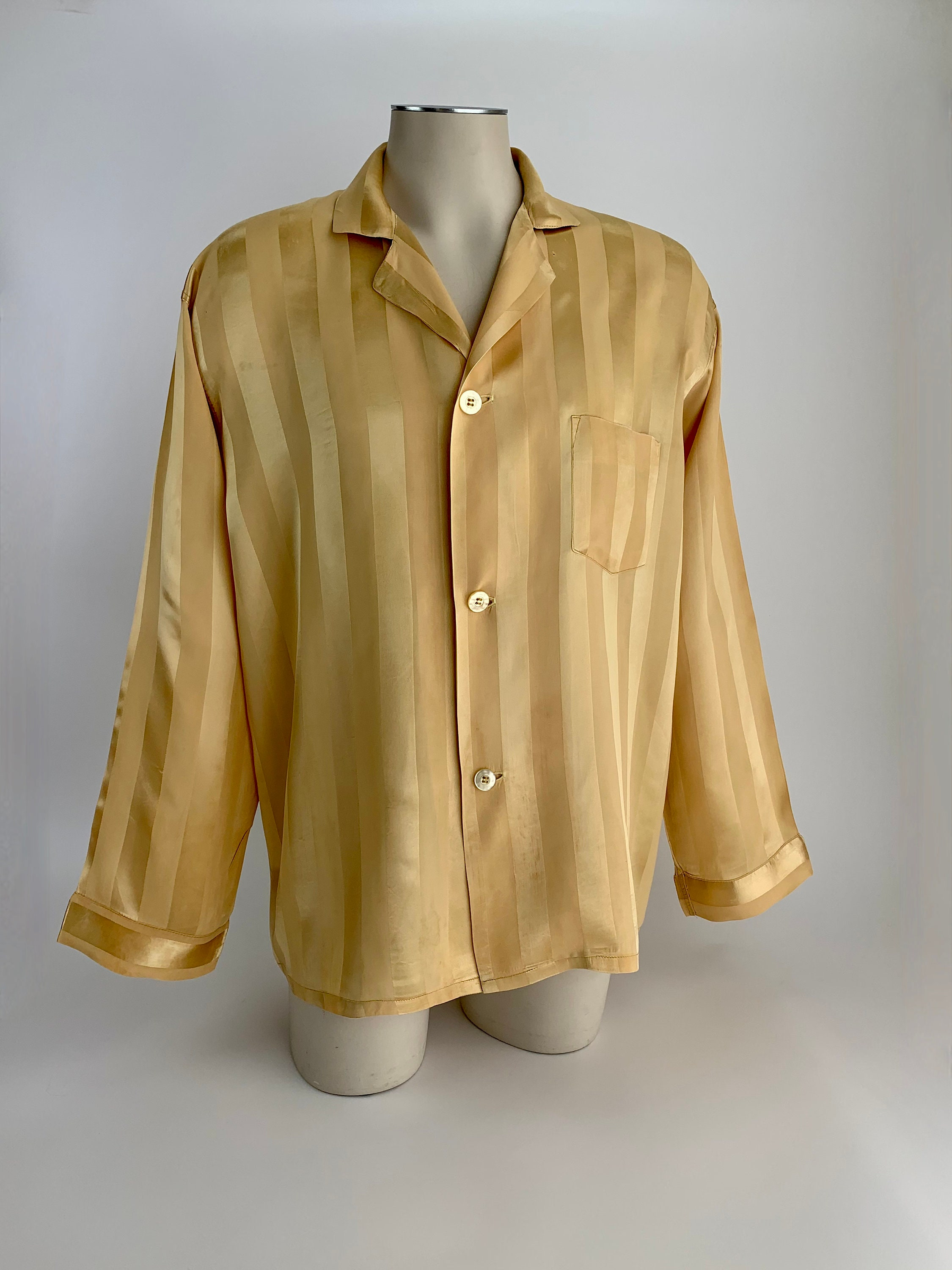 1940s Men's Shirts, Sweaters, Vests 1940s Pajama Lounge Shirt - Wide Striped Jacquard Fabric Patch Pocket Notched Collar Old Hollywood Style Mens Size Large $22.95 AT vintagedancer.com