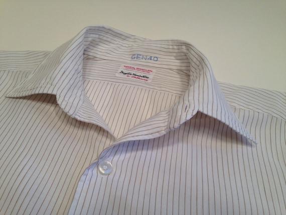 Vintage 1960's Pinstriped Dress Shirt / Crisp Sum… - image 1
