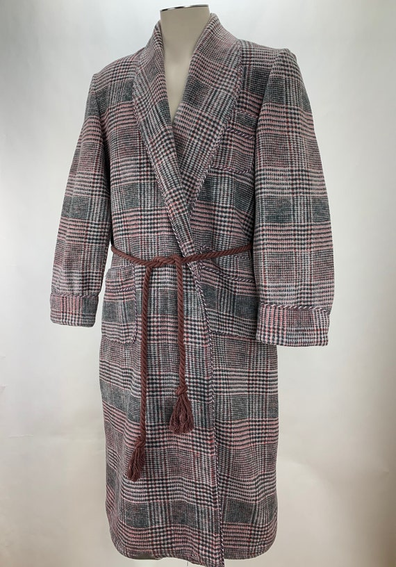 1930's BEACON Blanket Robe - Black, Gray & Red Cot