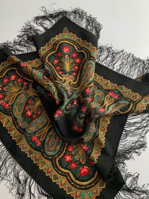 Vintage Paisley Scarf in Black with Vivid Colors -