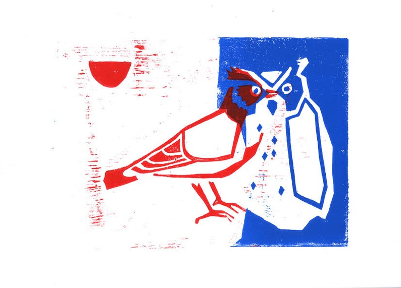 A5 lark and an owl red and blue woodcut