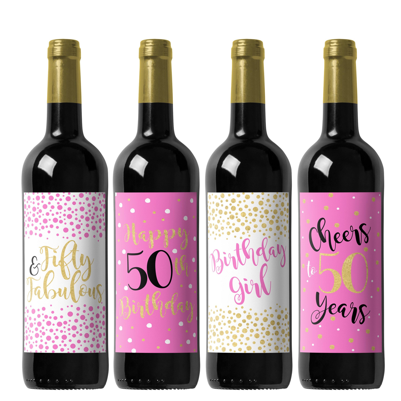 50th Birthday Wine Label Birthday Party Custom Wine Label | Etsy
