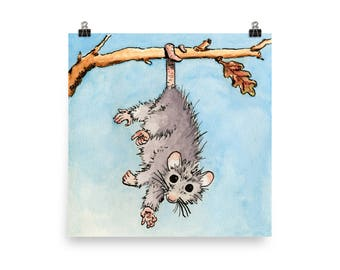 Watercolour Opossum Poster