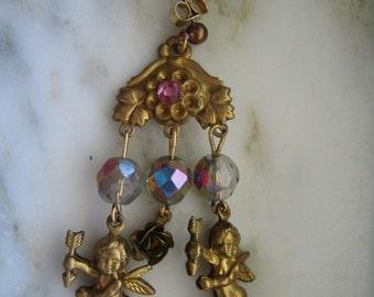 Vintage Cupids, Heart & Key Pierced Earrings - Valentine's Day