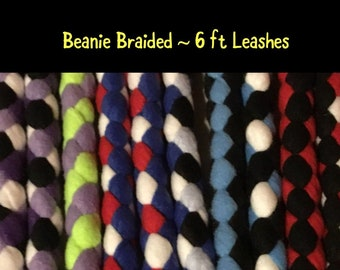 SNAP LEASH 6 ft Fleece Braided Dog Leash...Flashy, Durable & Strong..Soft on your hands and dogs mouth! (2019)