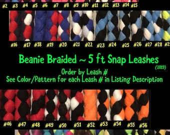 SNAP LEASH 5 ft Fleece Braided Dog Leash...Flashy, Durable & Strong..Soft on your hands and dogs mouth! (2019)