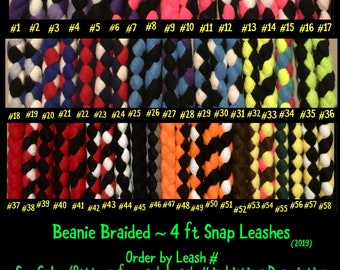 SNAP LEASH 4 ft Fleece Braided Dog Leash...Flashy, Durable & Strong..Soft on your hands and dogs mouth!