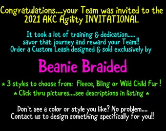 2021 AKC Agility INVITATIONAL theme Leash   Event & Dog Name Embroidered   Black and Yellow Spiral Leash   Bling, Fleece, Fur   FREE Ship