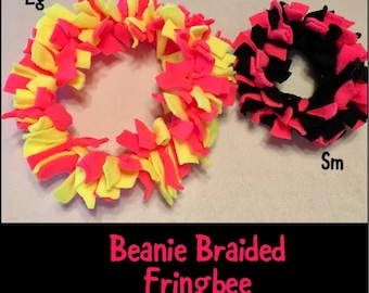 FRINGBEE Tug ~ Fleece Ring with Fringe - a SOFT Flexible Frisbee with Fringe...great for use inside or out!  Soft on hands & dogs mouth!!