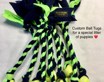Custom Ball Tugs for Litter of Puppies You Pick Braid Color XSmall Kong Squeaker Send Pup to their Forever home with fun toy FREE USA SHIP