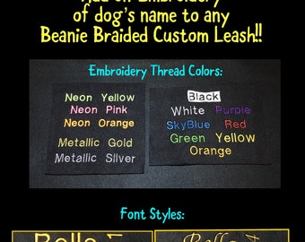 """Embroidery """"ADD-ON"""" to CUSTOM Leash or Tug   Embroider dog's name to Fleece strips at Handle"""