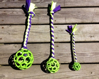 Hol-ee Roller BEANIE Tug -  with or without Kong Squeaker Ball inside !!! Available in 3 Holee Roller sizes!