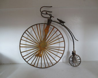 Vintage Penny Farthing Bicycle Figurine - Antique Model Bike Rusty Metal Shabby Chic