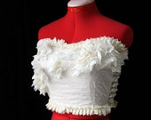 Bridal Bustier Lace Top with 3D Flowers Custom Size