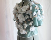 Poetess Green-Blue Sheer Peace Silk Blouse with Floral Buds (Victorian-Inspired) Custom Size