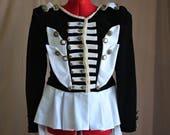 Steampunk Circus Visual Kei Peplum Jacket (Black Linen & White Sateen) Custom Size