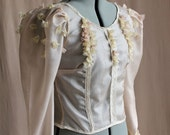 Victorian Sheer Wedding Blouse with 3D Flowers (Blush & Cream Peace Silk) Tailor-Made