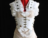 3pc Seashells Steampunk Corset Bustle Dress with High-neck Collar Custom Size