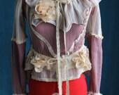 Organic Cotton Victorian Ruffle Collar Blouse for Beach Weddings Custom Size