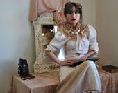 Wild Silk Rustic Woodland Victorian Dress with High Neck xs, s, m, l, or xl