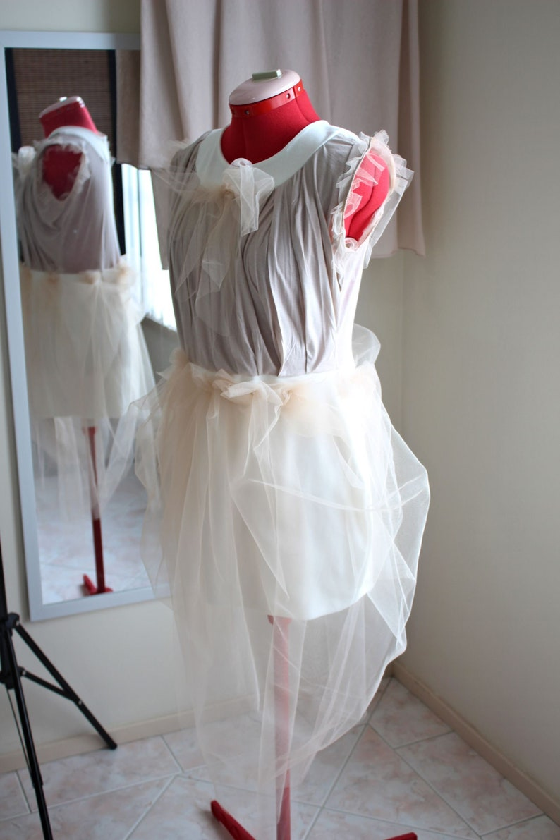 Unique Nude Tulle Dress with Front Bow Custom Size