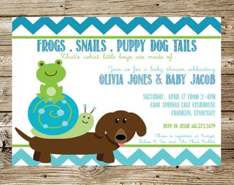 Frogs, Snails, Puppy Dog Tails baby shower invitation