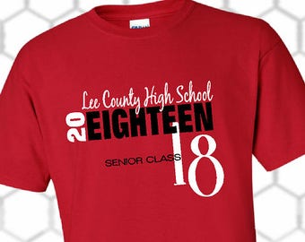Class of 2018 Graduation T-Shirt / Black and Red Shirt / Senior Shirt / Graduation Gift / Any School Available - Up to a 5X - (G2000) #1312A