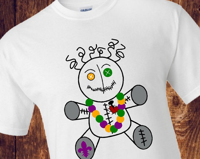 Mardi Gras VooDoo Doll with Fleur De Lis and Beads T-Shirt / New Orleans Party Shirt / VooDoo T-shirt - Up to a 5X (G2000) #1352