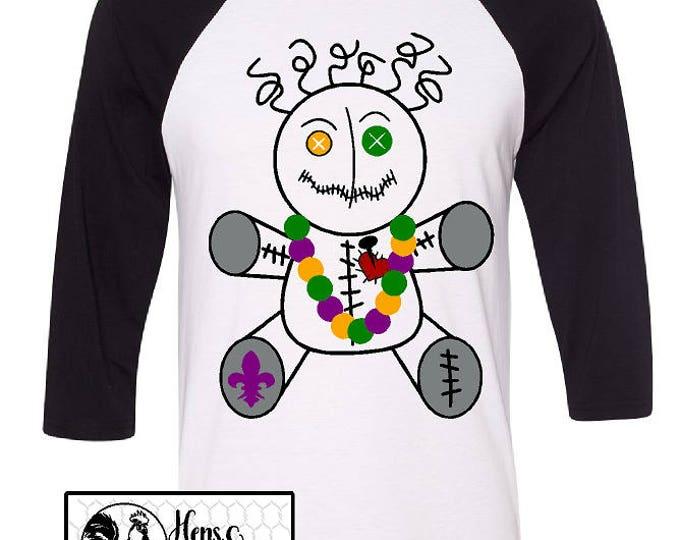 Mardi Gras VooDoo Doll T-Shirt with Fleur De Lis and Beads / VooDoo Shirt /  Soft Unisex Raglan /New Orleans Baseball T-Shirt (B3200) #1352