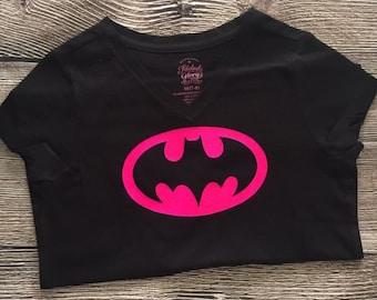 Girls Womens Hot Pink Batman Superhero T Shirt