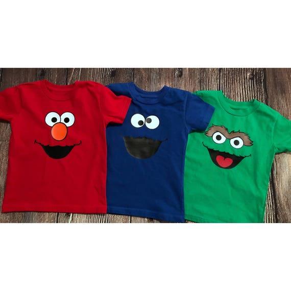 Custom Elmo Cookie Monster Oscar The Grouch Birthday Shirt Unisex
