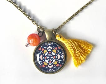 Mosaic Pendant and Tassel Necklace, Mosaic Jewelry