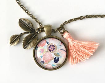 Floral Pendant and Tassel Necklace, Floral Jewelry