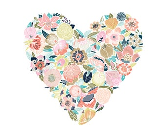 Floral Heart - Art Print, Original Illustration - Limited Edition Giclee Print (8 x 10in)