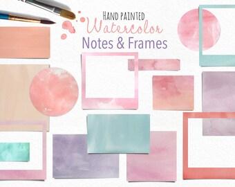 Watercolor Digital Frames & Notes Clip Art - Scrapbooking, Logo