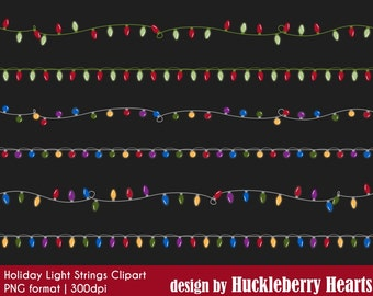 Christmas Lights Clipart, String Lights Clipart, Christmas Lights, Holiday Lights, Christmas Clipart, Printable, Commercial Use