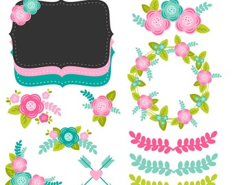 Floral Clipart, Flower Clipart, Flowers, Flower Graphics, Printable, Commercial Use