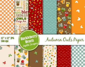 Digital Owl Paper, Owl Scrapbook Paper, Autumn Paper, Fall Paper, Printable, Commercial Use