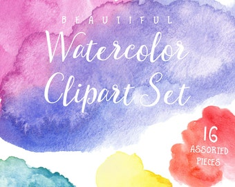 Watercolor Clipart, Watercolor Clip Art, Watercolor, Textures, Blobs, Shapes, Printable, Commercial Use