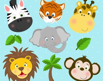 Safari Zoo Animals Clipart, Zoo Animals, Zoo Clipart, Elephant, Lion, Tiger, Giraffe, Zebra, Monkey, Printable, Commercial Use