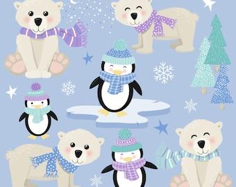 30+ Winter Animals Glasses Clipart