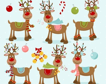 Reindeer Clipart Christmas Rudolph Red Nosed Printable Commercial Use