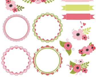 Pink flower clipart etsy flower clipart flower clip art pink frames frame clipart pink flowers printable commercial use mightylinksfo