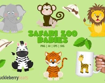 Safari Zoo Clipart, Zoo Animals, Zoo Clipart, Elephant, Lion, Tiger, Giraffe, Zebra, Monkey, Printable, SVG, Commercial Use, #CP671
