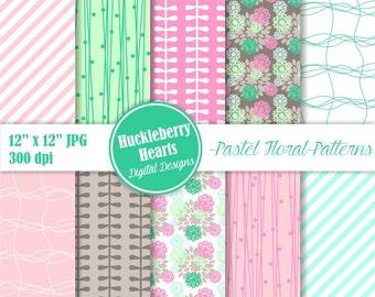 Digital Flower Paper, Pastel Flower Paper, Flower Scrapbook Paper, Flower Backgrounds